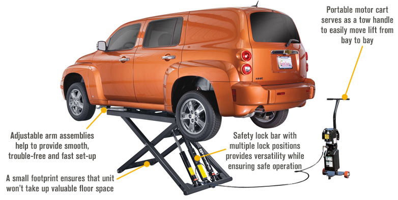 Features for FREE SHIPPING — BendPak Portable Mid-Rise Scissor Car Lift — 6000-Lb. Capacity, Gray, Model# MD-6XP