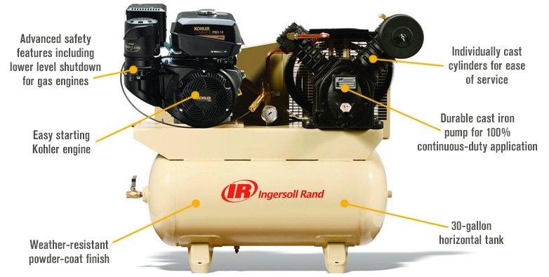 Features for FREE SHIPPING — Ingersoll Rand Air Compressor — 14 HP, Model# 2475F14G