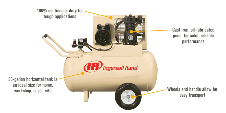 Features for FREE SHIPPING — Ingersoll Rand Portable Electric Air Compressor — 2 HP, 30-Gallon Horizontal, 5.7 CFM, Model# SS3F2GM