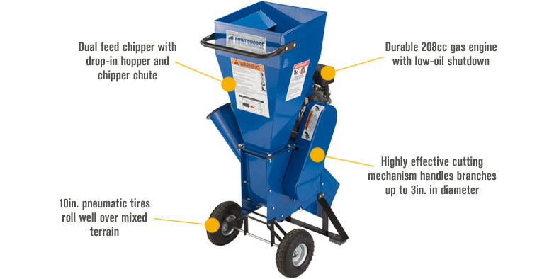 Features for Powerhorse Chipper/Shredder — 208cc Powerhorse OHV Engine, 3in. Capacity