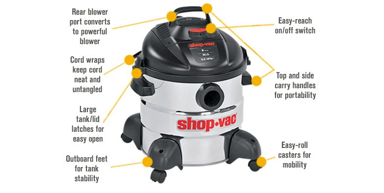 Features for Shop-Vac Stainless Steel Wet/Dry Vacuum — 8-Gallon, 5.5 HP, Model# 5866100