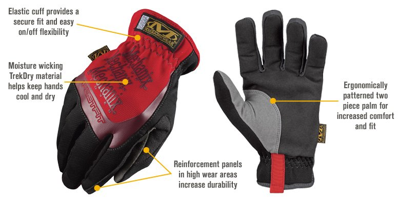 Features for Mechanix Wear FastFit Glove — Red, Small, Model# MFF-02-008