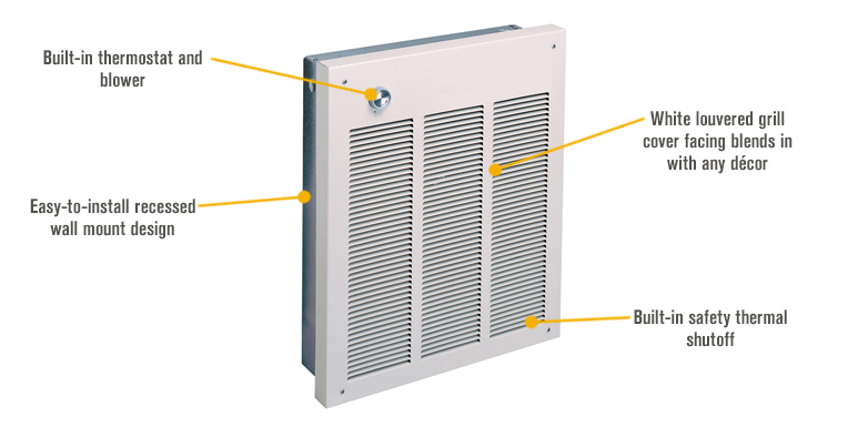 Features for Fahrenheat Commercial Wall Heater – 4,000 Watts, 240 Volts, Model# FZL4004