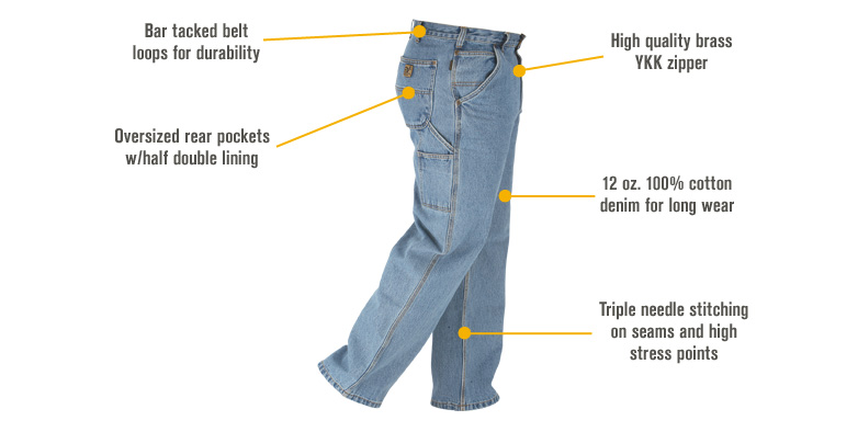 Features for FREE SHIPPING Gravel Gear Men's Denim Carpenter Jean - 36in. Waist x 30in. Inseam