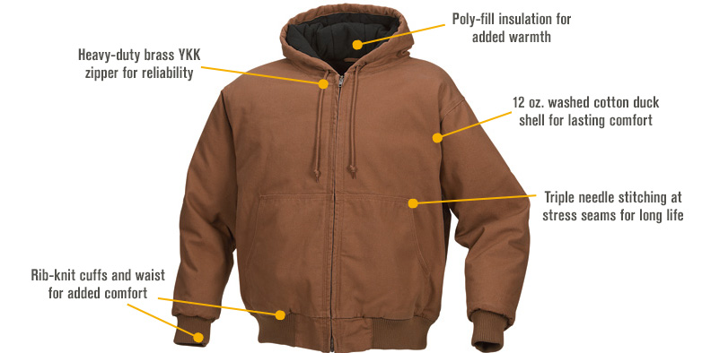 Features for FREE SHIPPING - Gravel Gear Men's Hooded Tundra Jacket - Bark Brown, Medium