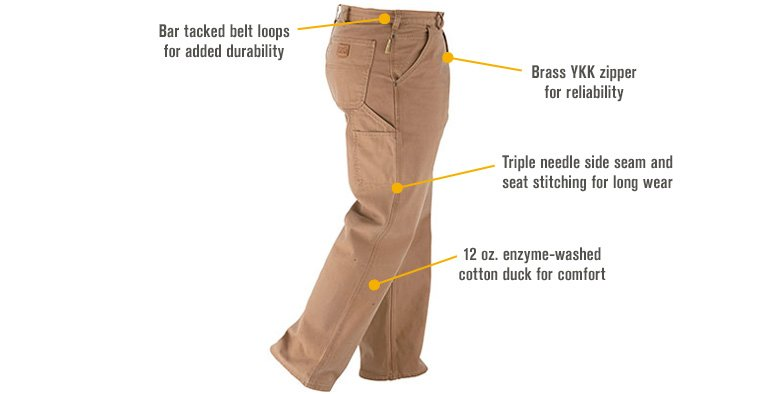 Features for FREE SHIPPING - Gravel Gear Men's Heavy-Duty Carpenter-Style Work Pants - Dark Brown, 44in. Waist x 32in. Inseam