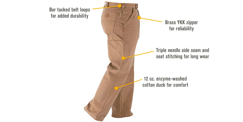 Features for Gravel Gear Men's Heavy-Duty Carpenter-Style Work Pants - Moss, 48in. Waist x 30in. Inseam