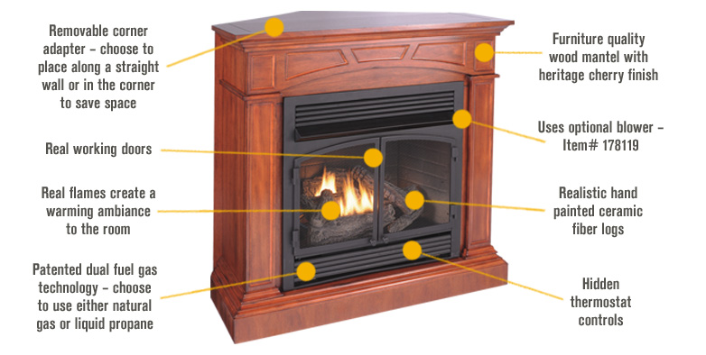 Features for ProCom Dual Fuel Vent-Free Fireplace with Corner Conversion Kit — 32,000 BTU, Heritage Cherry Veneer, Model# FBD400RTCC-M-HC