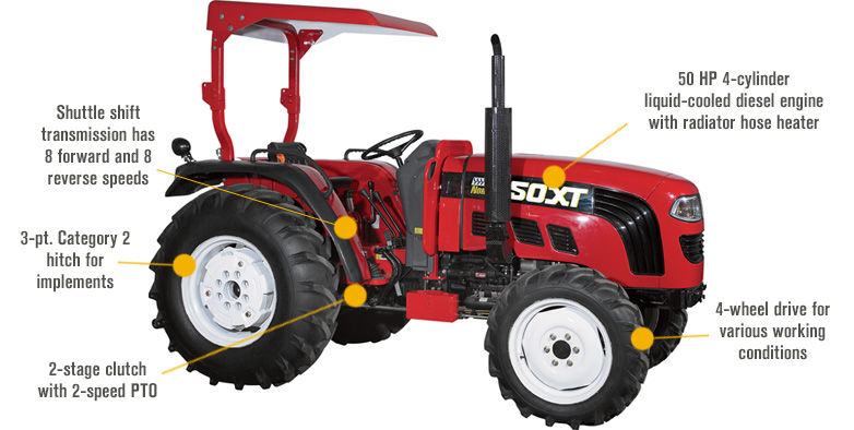 Features for FREE SHIPPING — NorTrac 50XT 50 HP 4WD Tractor — with Ag. Tires