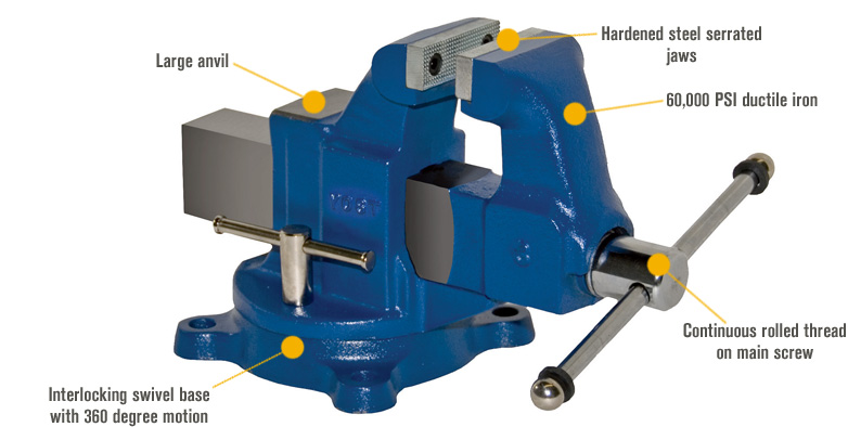 Features for Yost Heavy-Duty Industrial Machinist Bench Vise — Swivel Base, 5in. Jaw Width, Model# 205