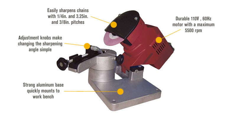 Features for Northern Industrial Bench-Mount Chain Grinder