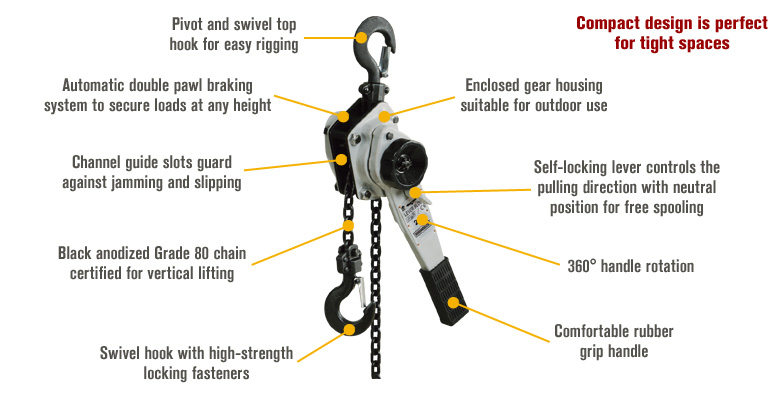 Features for Roughneck Lever Chain Hoist — 2-Ton Capacity, 5ft. Lift