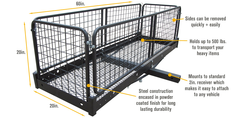 features for ultratow steel cargo hauler with removable basket u2014 500lb
