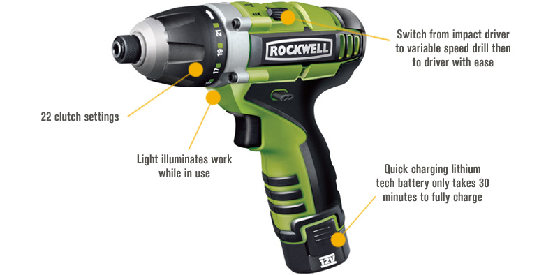 Features for FREE SHIPPING — Rockwell LithiumTech 3rill Cordless 3-in-1 Drill/Driver/Impact Driver — 12 Volt, 1/4in., Model# RK2515K2