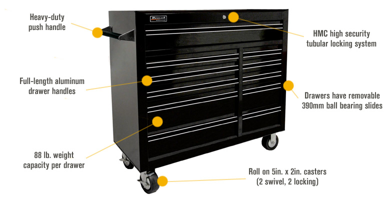 Features for Homak Pro Series 41in. 11-Drawer Rolling Tool Cabinet — Black, 42in.W x 18 1/8in.D x 38 3/4in.H, Model# BK04011410