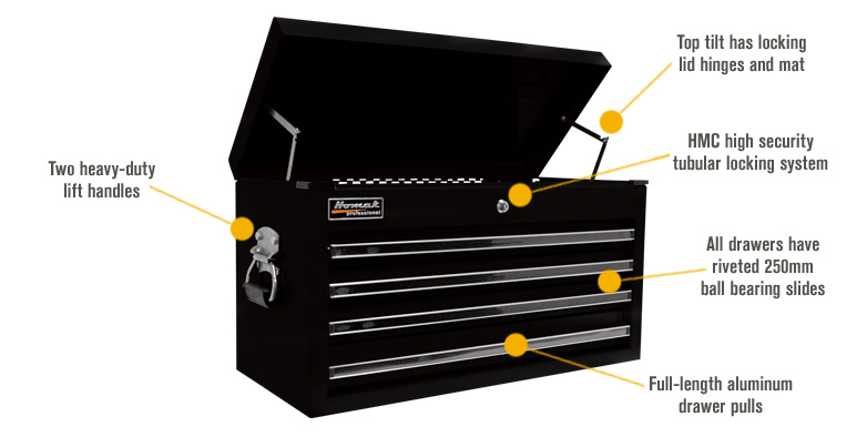 Features for Homak Pro Series 27in. 4-Drawer Top Tool Chest — Blue, 26 1/4in.W x 12in.W x 14 1/4in.H, Model# BL02042601