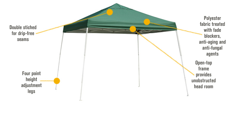 Features for ShelterLogic Pop-Up Outdoor Canopy Tent — 12ft. x 12ft., Open Top, Slant Leg, Checkered Flag, Model# 22547