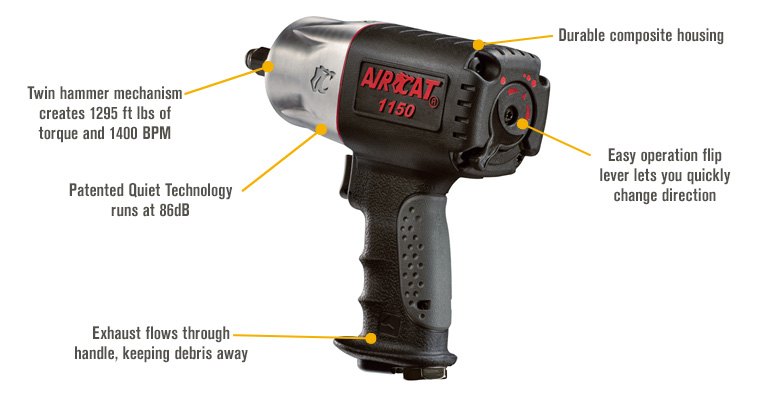 Features for AIRCAT Composite Air Impact Wrench — 1/2in. Drive, 8 CFM, 1,295 Ft.-Lbs. Torque, Model# 1150