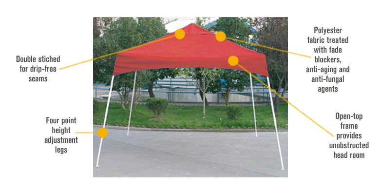 Features for ShelterLogic Sport Series Pop-Up Outdoor Canopy Tent — 8ft. x 8ft., Open Top, Slant Leg, Purple, Model# 22701