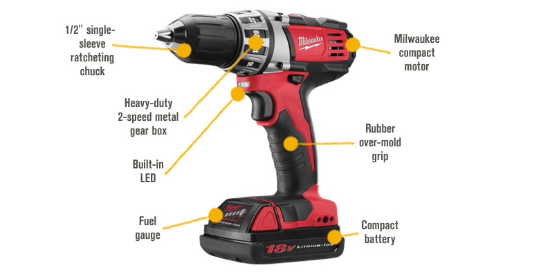Features for FREE SHIPPING — Milwaukee M18 Cordless Compact Driver — 18 Volt, 1/2in., Model# 2601-22