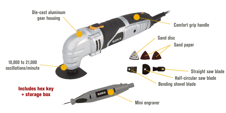Features for FREE SHIPPING — Klutch Multi-Function Variable-Speed Oscillating Tool Kit with Engraver