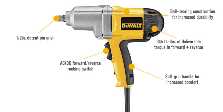 Features for FREE SHIPPING — DEWALT Heavy-Duty Impact Wrench — 1/2in., Model# DW292