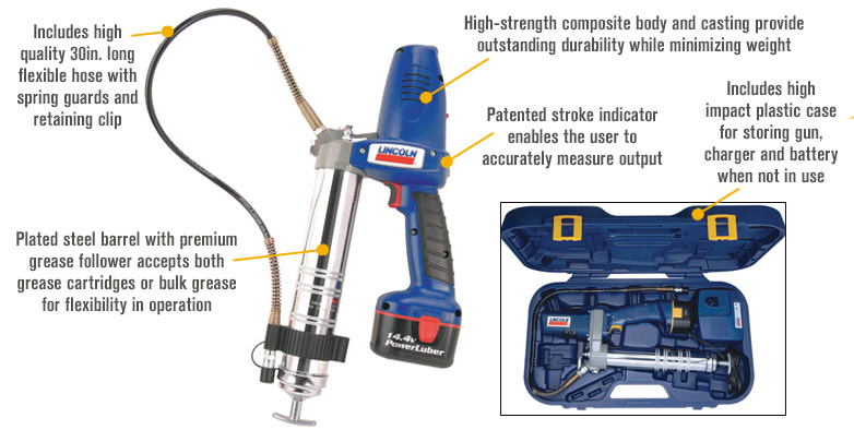 Features for Lincoln PowerLuber Cordless Grease Gun Kit — 14.4V, 7500 PSI, 1 Battery, Model# 1442