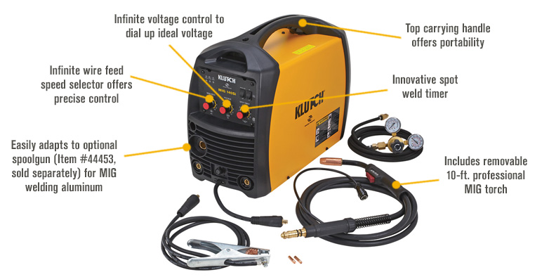 FREE SHIPPING — Klutch MIG 140SI Flux-Core/MIG Wire-Feed Welder ...
