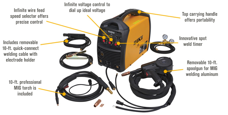 Features for FREE SHIPPING — Klutch MIG/Stick 220Si 230V Multi-Process Welder with Spool Gun — 230V, 140 Amp