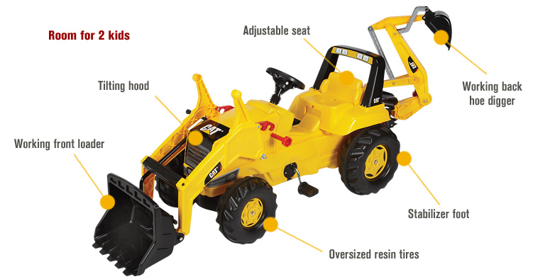 Features for Kettler CAT Backhoe Pedal Tractor