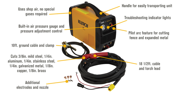 Features for Klutch Plasma 375i Plasma Cutter — 230V, 40 Amp