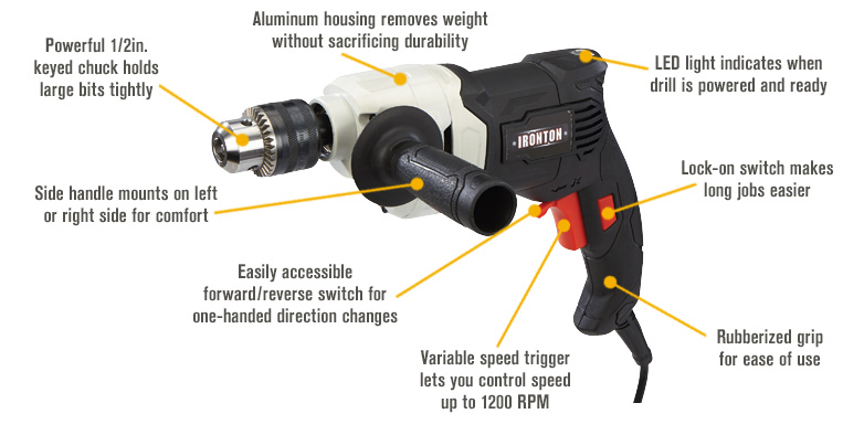 Features for FREE SHIPPING — Ironton High-Torque Corded Electric Drill/Driver — 1/2in. Chuck, 6.3 Amp, 1200 RPM