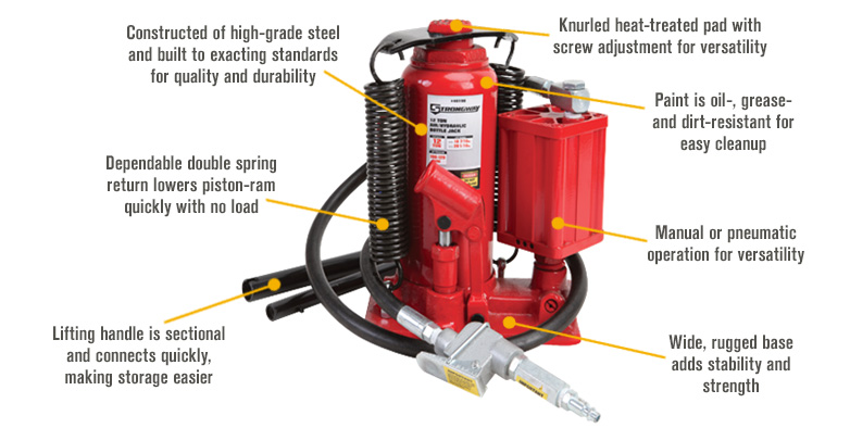 Features for FREE SHIPPING — Strongway 12-Ton Air/Hydraulic Bottle Jack