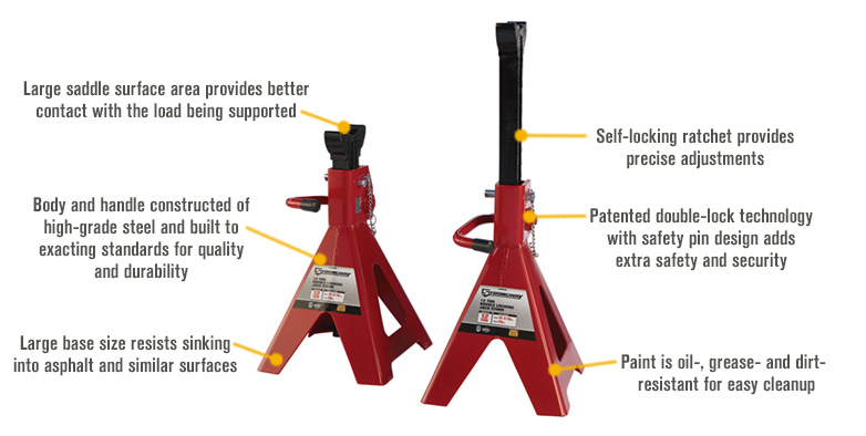 Features for FREE SHIPPING — Strongway Double-Locking 12-Ton Jack Stands — Pair
