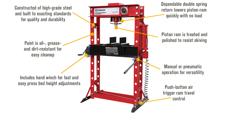 Features for Strongway 45-Ton Pneumatic Shop Press with Gauge and Winch