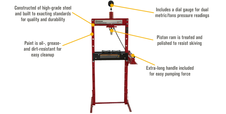 Features for Strongway 20-Ton Hydraulic Shop Press with Gauge
