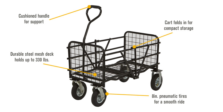 Features for Strongway Steel Folding Utility Cart — 330-Lb. Capacity, 49in.L x 25 1/2in.W