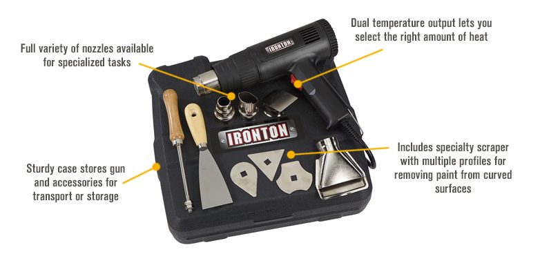 Features for FREE SHIPPING — Ironton Dual Temperature Heat Gun Kit — 9-Pc.