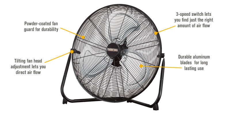 Features for Ironton High-Velocity Floor Fan — 20in., 1/5 HP, 120 Volts, 4,414 CFM