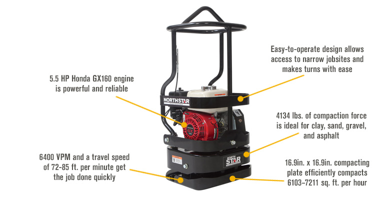 Features for NorthStar Tamping Rammer Plate Compactor — With 5.5 HP Honda GX160 Engine