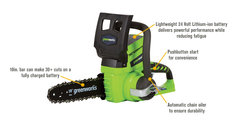 Features for GreenWorks G-24 24 Volt Li-Ion Cordless Chainsaw — 10in. Bar, 3/8in. Chain Pitch, 2Ah, Model# 20362