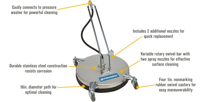 Features for Powerhorse Pressure Washer Surface Cleaner — 16in. Dia., 3500 PSI, 5 GPM