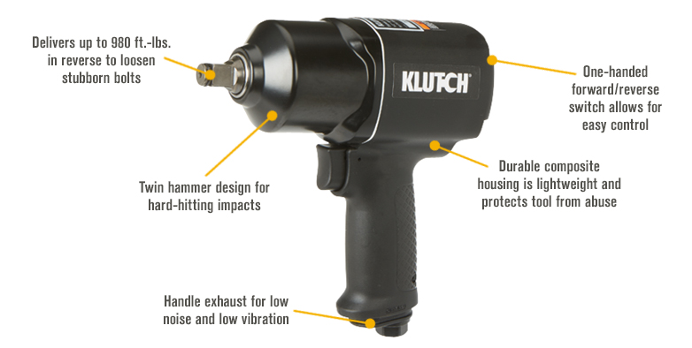 Features for Klutch Air Impact Wrench — 1/2in. Drive, 4 CFM, 980 Ft.-Lbs. Torque