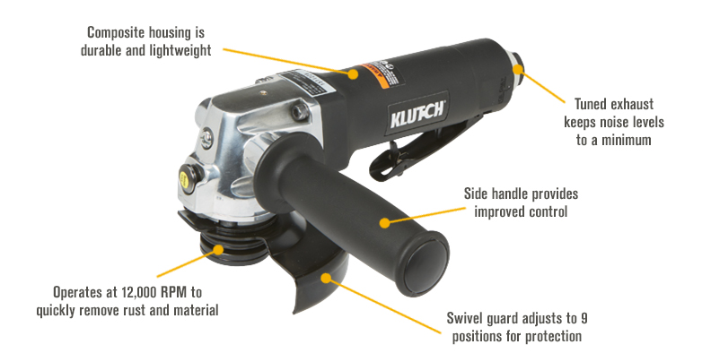 Features for Klutch 4 1/2in. Air Angle Grinder — 12,000 RPM, 4 CFM