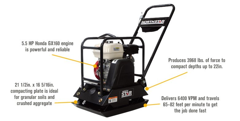 Features for NorthStar Single-Direction Plate Compactor — With 5.5HP Honda GX160 Engine