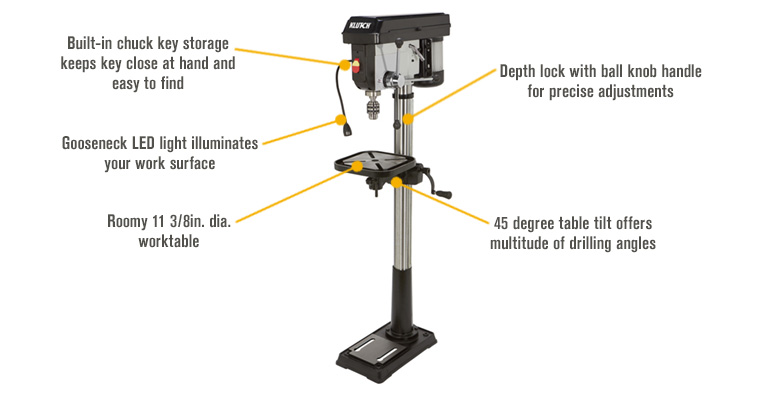 Features for Klutch Floor Drill Press — 12-Speed, 14in., 1 HP, 120V