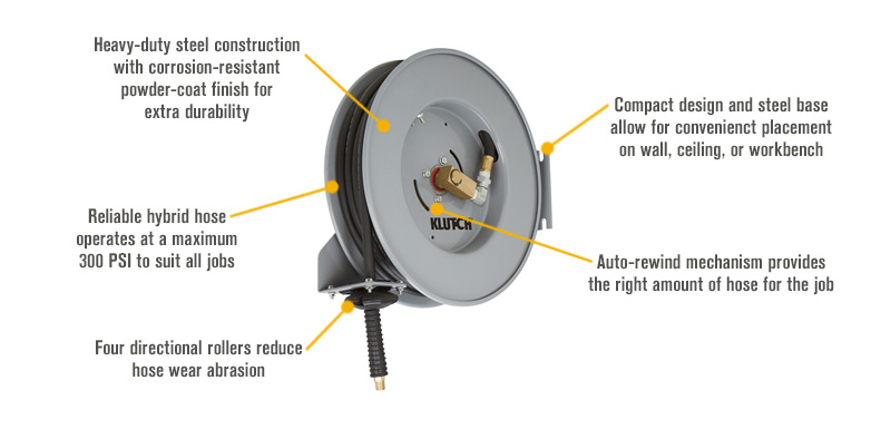 Features for Klutch Compact Auto Rewind Air Hose Reel — With  3/8in. x 50ft. Hybrid Hose, Max. 300 PSI
