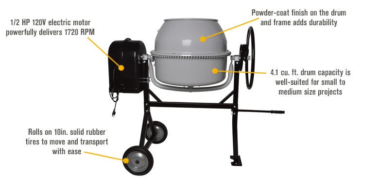 Features for Klutch Portable Electric Cement Mixer —  4.1 Cubic Ft. Drum