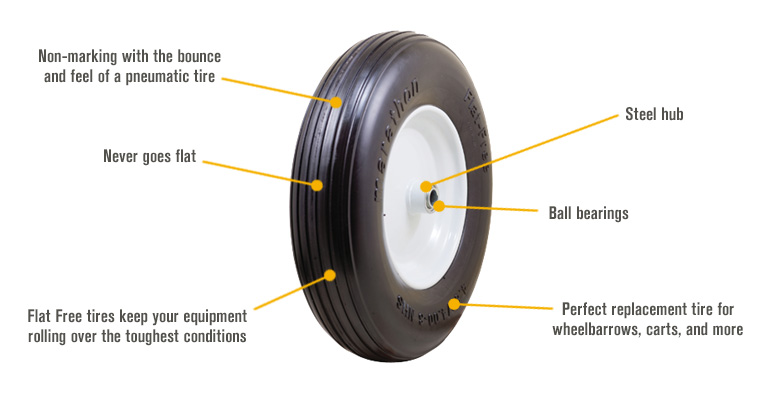 Features for Marathon Tires Flat-Free Dense Wheelbarrow Tire — 3/4in. Bore, 4.80/4.00–8in.
