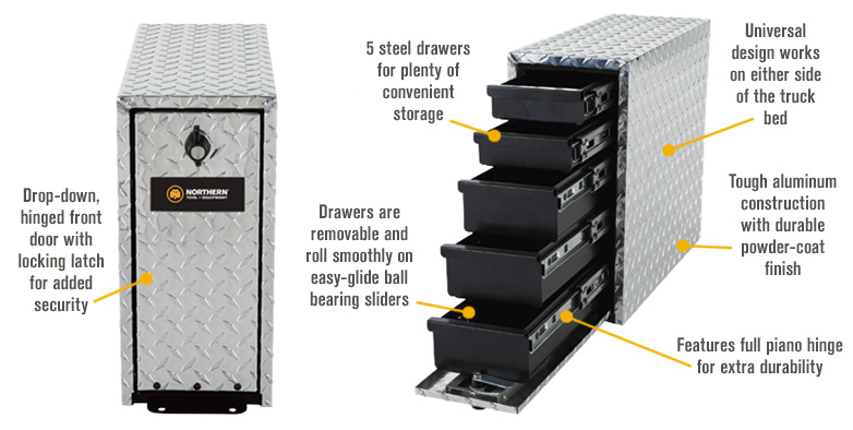 Features for Northern Tool + Equipment 5-Drawer Tool Box Tower — Diamond Plate Aluminum, 18in.
